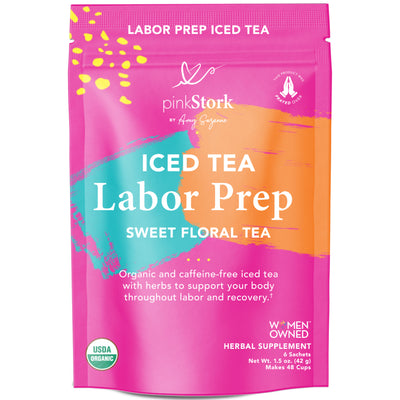 Iced Labor Prep Tea: 48 Cups - Pink Stork. Front of pouch. Iced Tea Labor Prep, Sweet Floral Tea. Organic and caffeine-free iced tea with herbs to support your body throughout labor and recovery. USDA Organic. Women Owned. Herbal Supplement. 6 Sachets, Net Wt. 1.5 oz. (42 g), Makes 48 Cups.