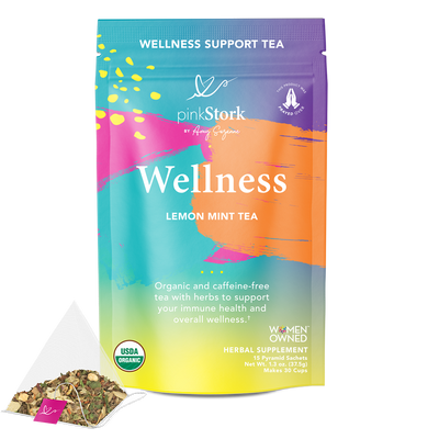 Wellness Tea: 30 Cups - Pink Stork. Front of pouch. Wellness, Lemon Mint Tea. Organic and caffeine-free tea with herbs to support your immune health and overall wellness. USDA Organic. Women Owned. Herbal Supplement. 15 Pyramid Sachets. Net Wt. 1.3 oz (37.5 g). Makes 30 cups.
