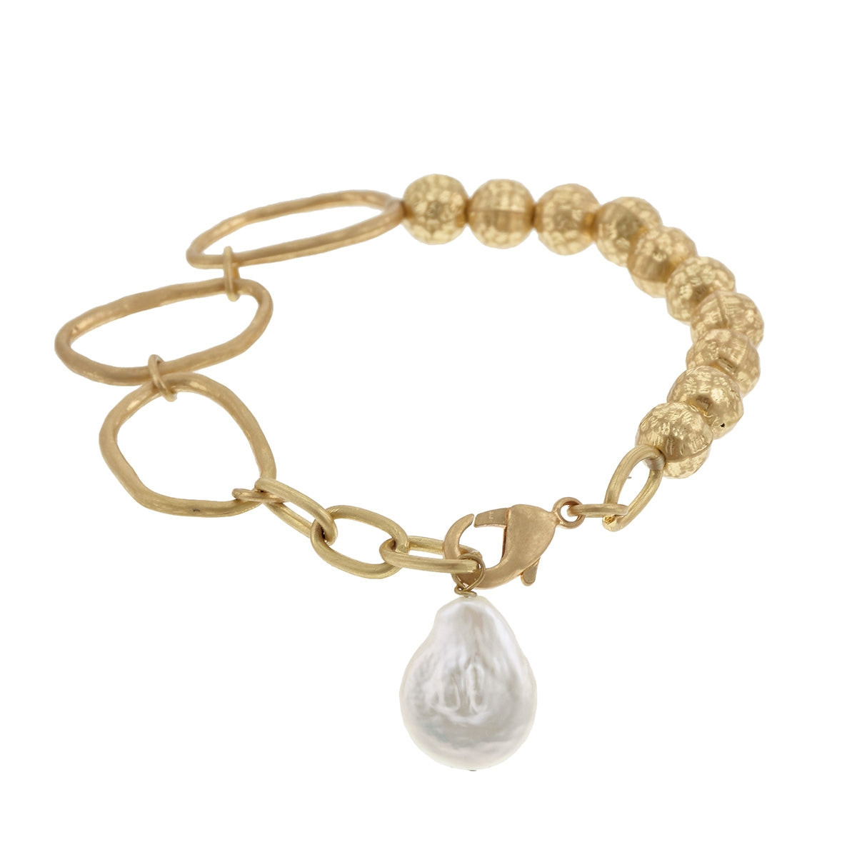 Hammered Worn Gold Stretch Bracelet With Baroque Pearl