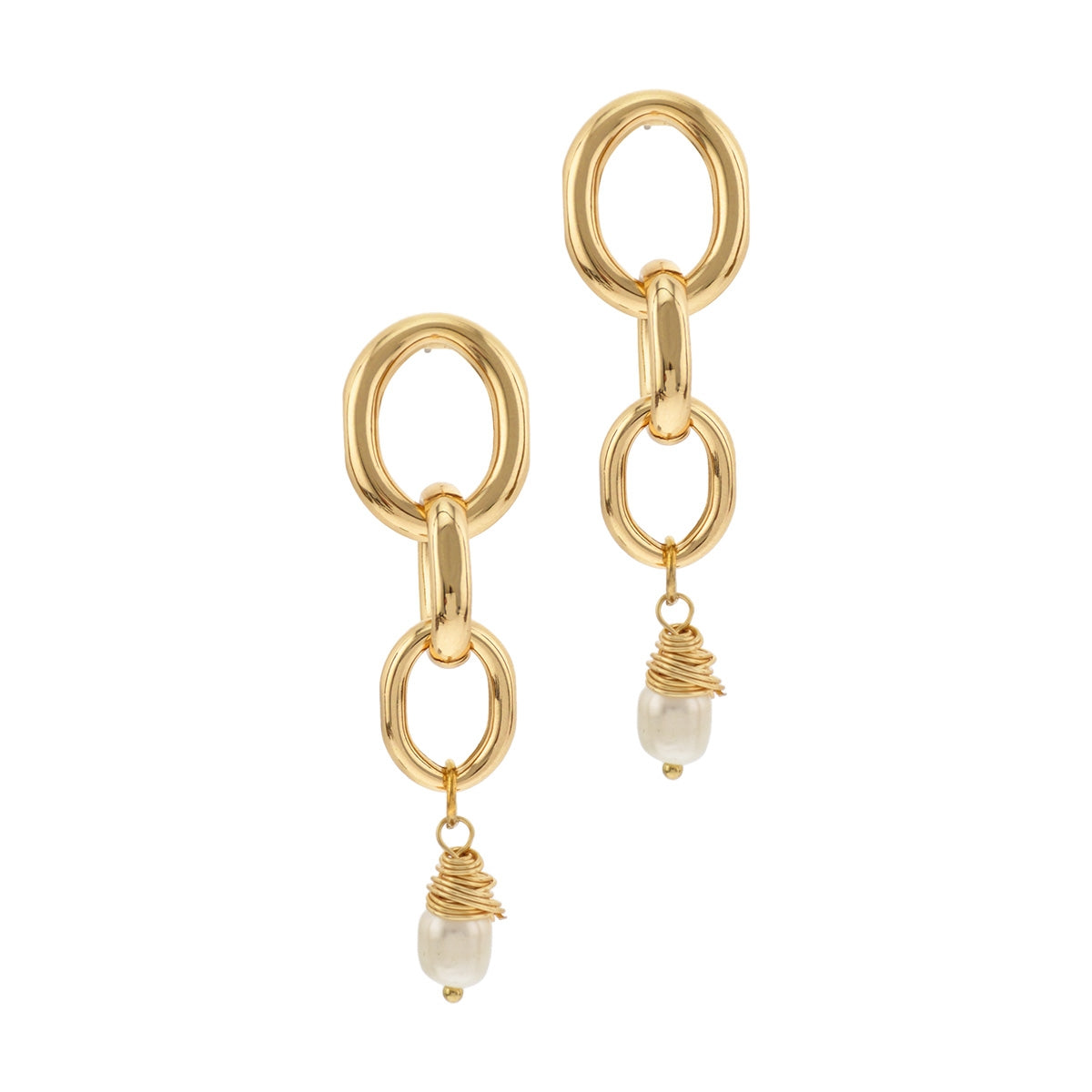 Chain Link Gold Drop Earrings With Freshwater Pearl