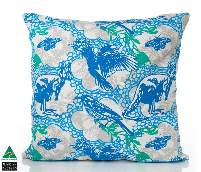 Bush Lace Cushion Cover - Blue