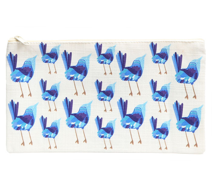 Blue Wren Cotton Zip Bag