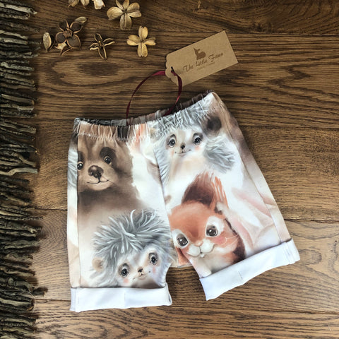 Woodland Creatures  Shorts  with rolled cuffs 0-4 years