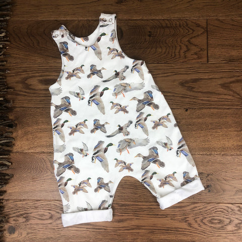 The Little Fawn Mallards in flight Romper with rolled cuffs 0-4 years