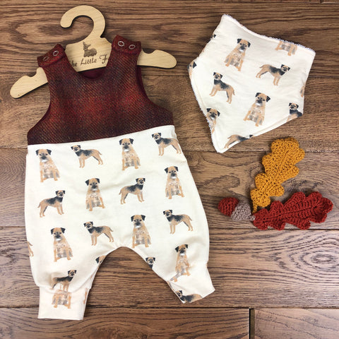 Dog breeds ( ALL BREEDS)  harris tweed topped romper