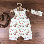 The Little Fawn Pheasant Romper with rolled cuffs 0-4 years