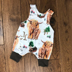The Little Fawn Highland Cow Romper 0-4 years