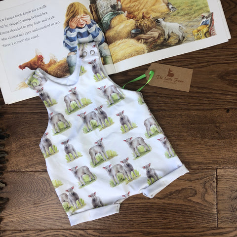 The Little Fawn Little Lambs Romper with rolled cuffs 0-4 years
