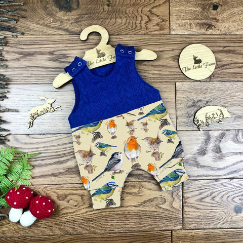 Garden birds cable knit topped romper