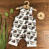 The Little Fawn Curious Otters Romper with rolled cuffs 0-4 years