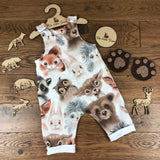 The Little Fawn Woodland Creatures Romper with rolled cuffs 0-4 years