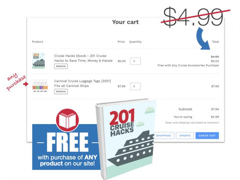 Cruise Hacks Book Free with Cruise Accessories Purchase