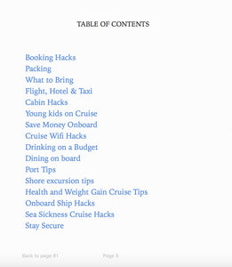 Cruise Hacks Ebook - Table of Contents