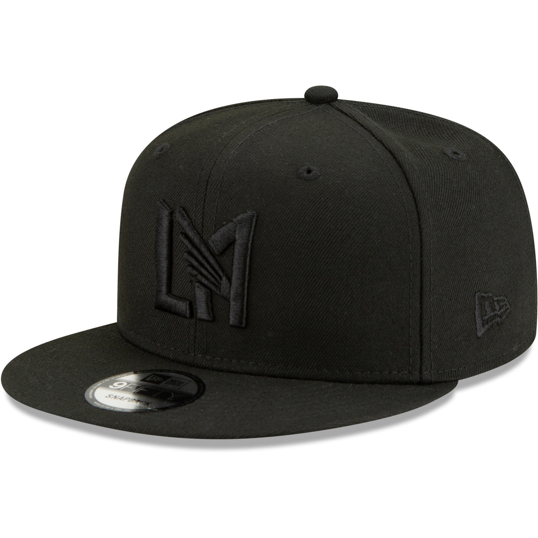 LAFC New Era Blackout Icon Logo 9FIFTY Snapback Hat - Black/Black