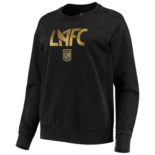 Women's LAFC 5th & Ocean by New Era Black Mineral Wash Pullover Sweatshirt