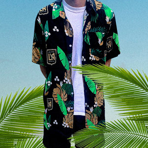 LAFC Men's Crest Hawaiian Button Up Shirt