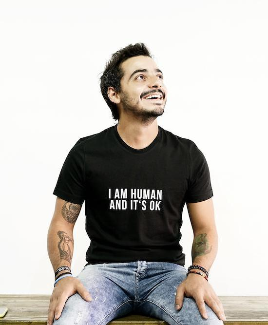 The Blank Project_Black_Slogan T-shirt_I am Human by Sebastian