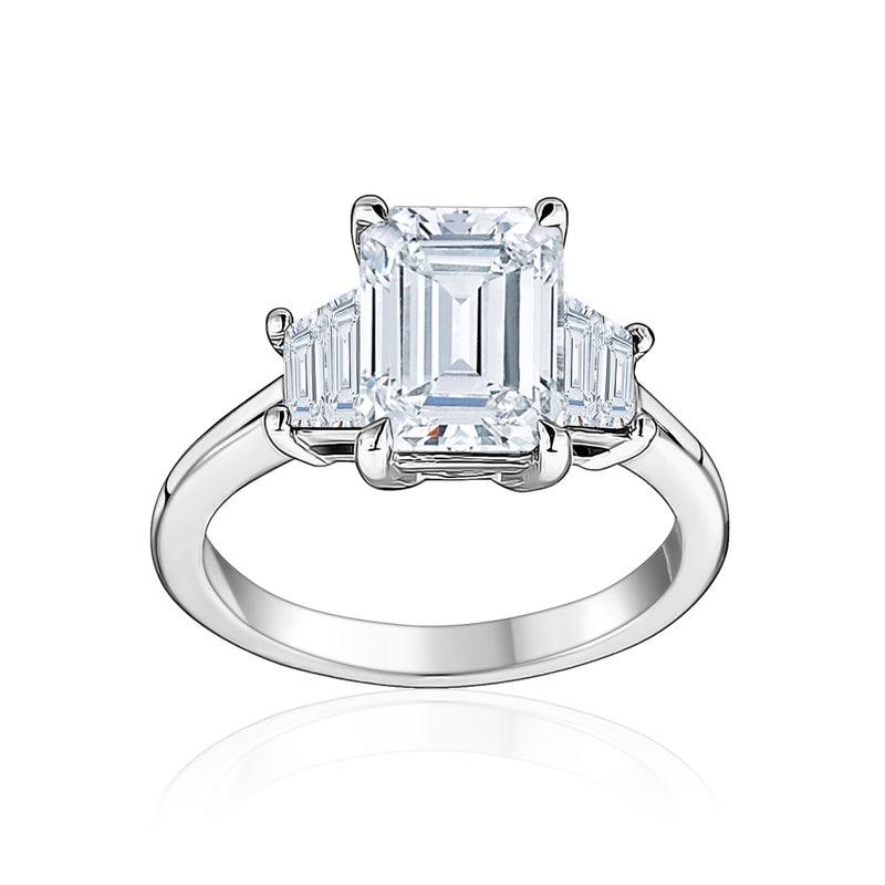 Emerald Cut Trapezoid Side Stone Engagement Ring
