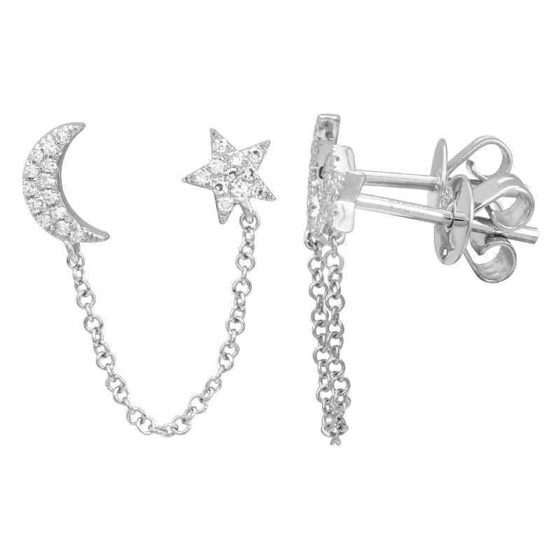 Diamond Chain Half Moon Half Star Earrings