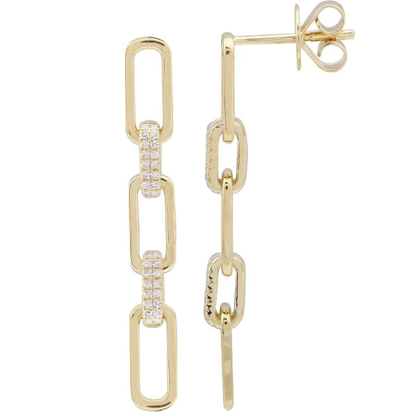 Paper Clip Diamond Earrings