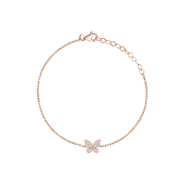 Single Diamond Butterfly Bracelet