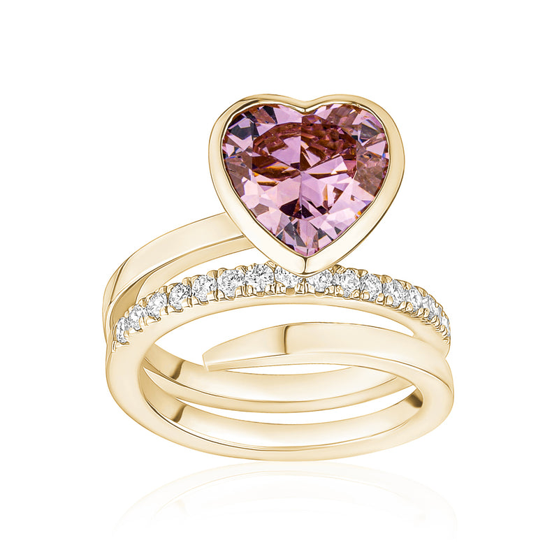 Coloured Heart Stone Wavy Ring