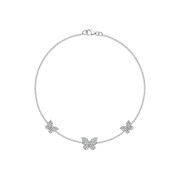 Triple Diamond Butterfly Anklet