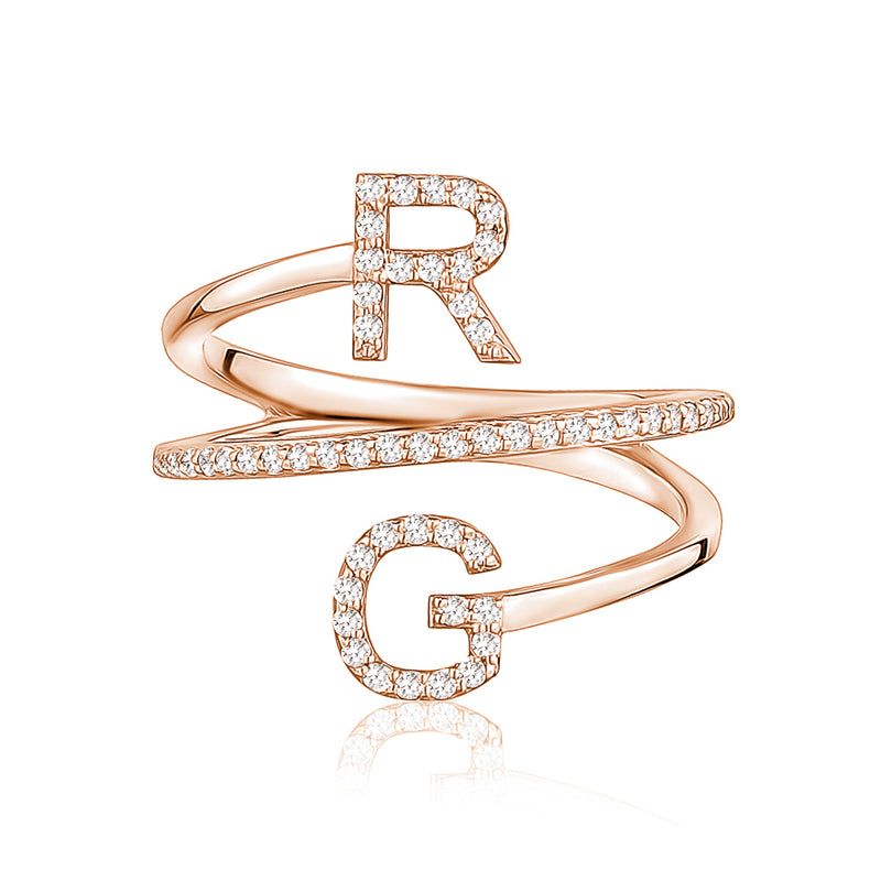 Diamond Double Initial Coil Ring
