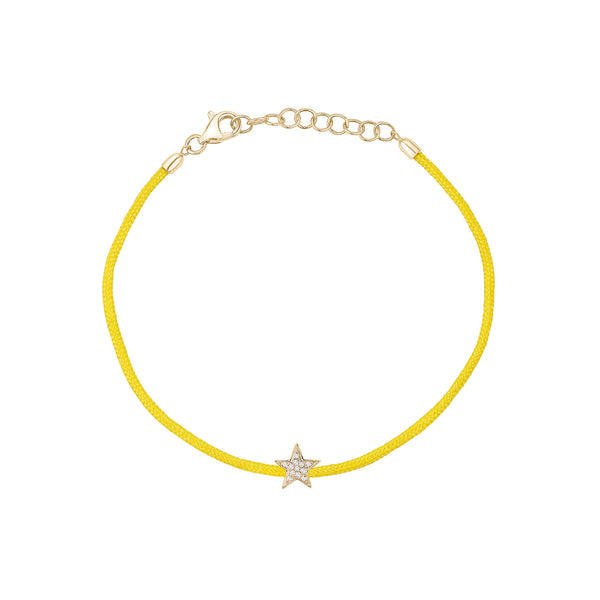 Yellow String with Diamond Star Bracelet
