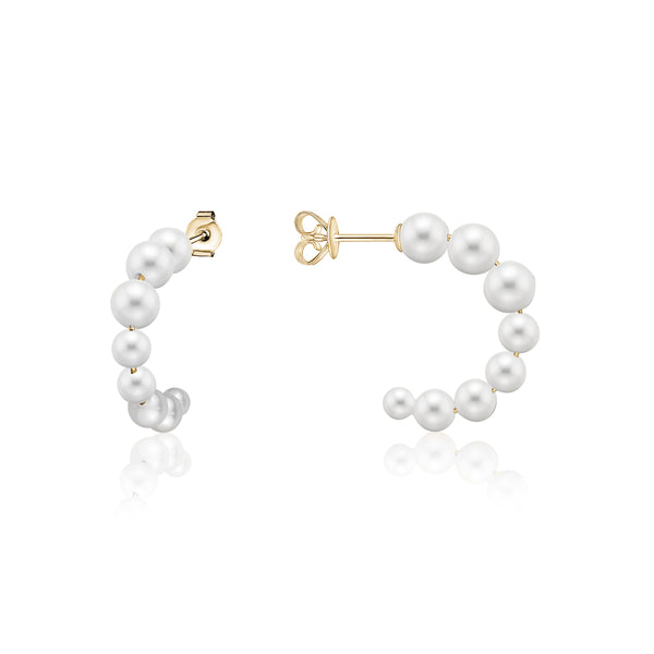 Small Graduated Pearl Hoops