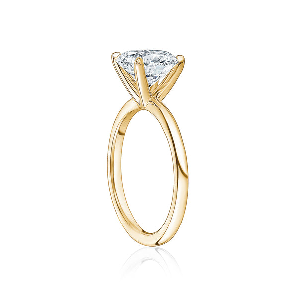 Classic Solitaire Ring with Yellow Gold Band