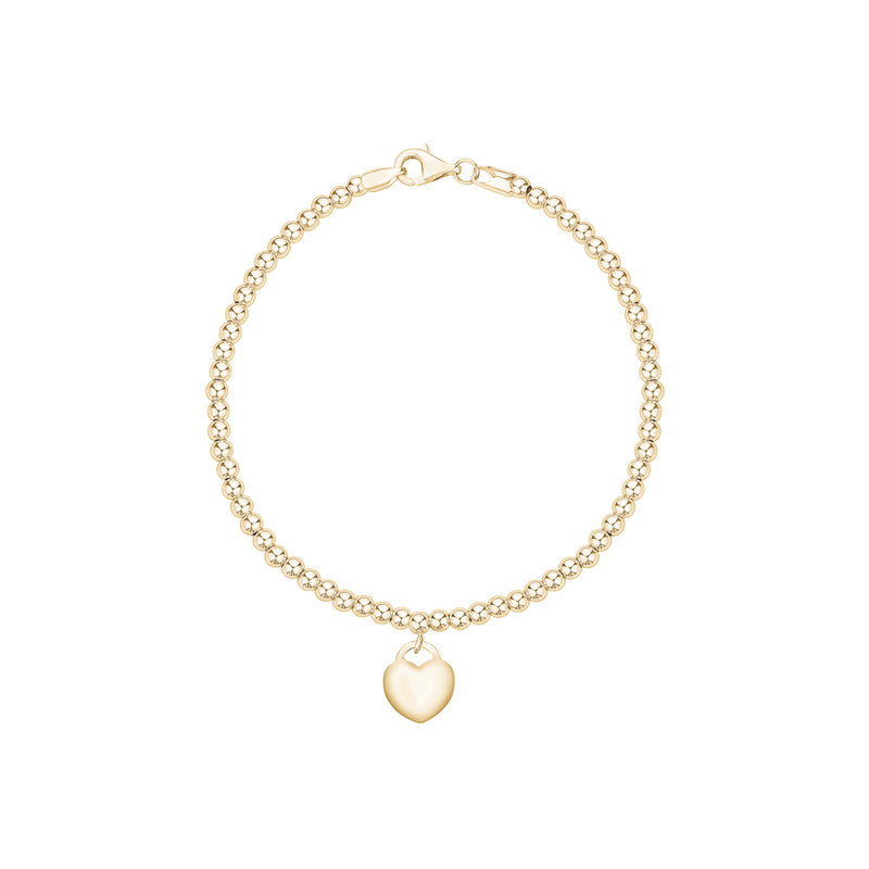Gold Beaded Bracelet with Heart Charm