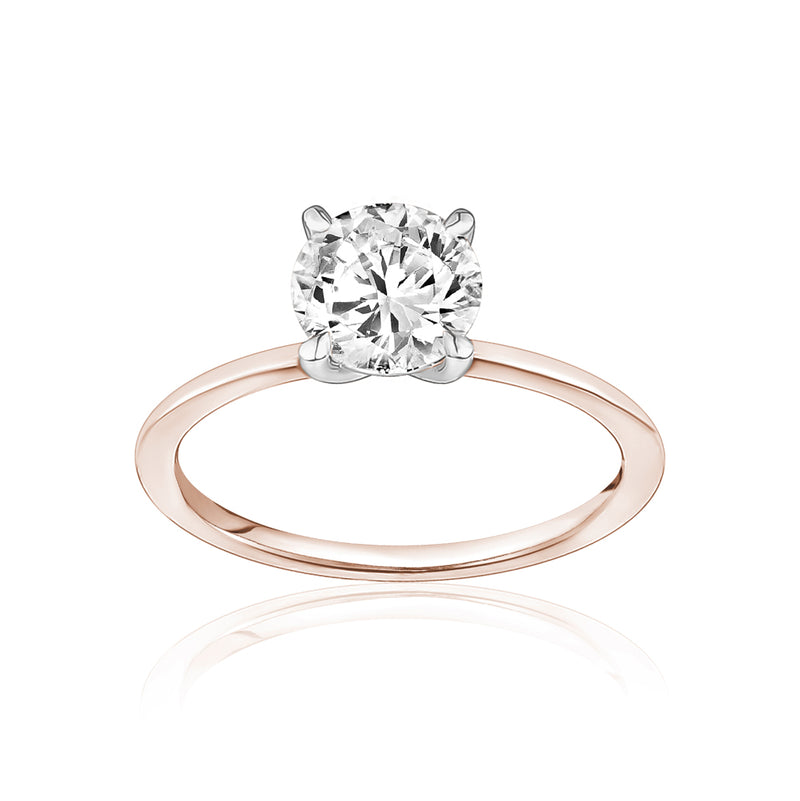 Classic Solitaire Ring with a Rose Gold Band