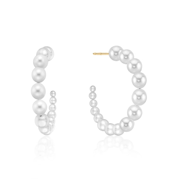 Graduated Pearl Hoops