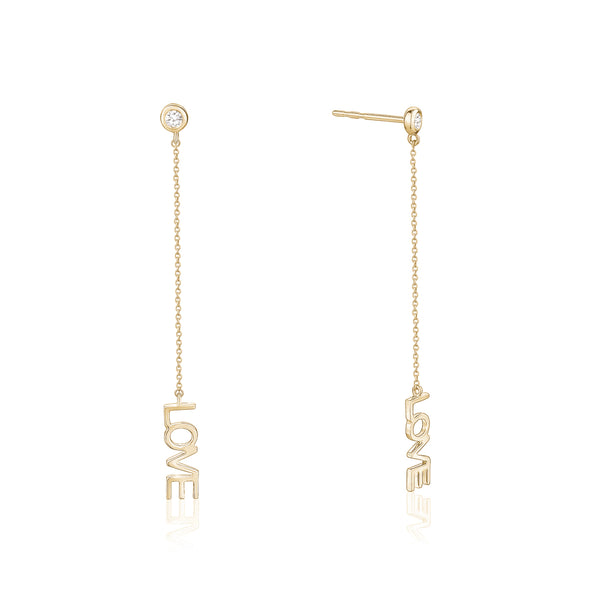 Diamond Chain Love Earrings