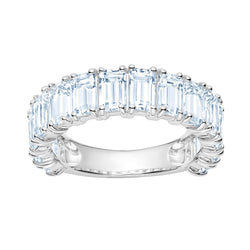 3/4 White Topaz Emerald Cut Band