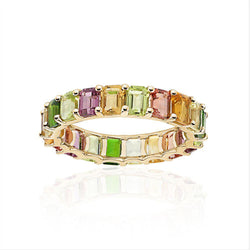 Petite Emerald Cut Rainbow Ring