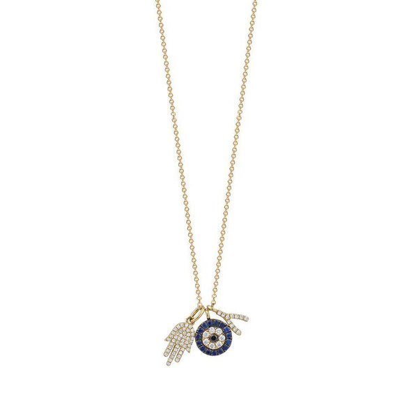 Diamond Charmed Evil Eye Necklace