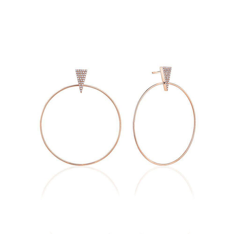 Pavé Triangle Accent Large Hoops