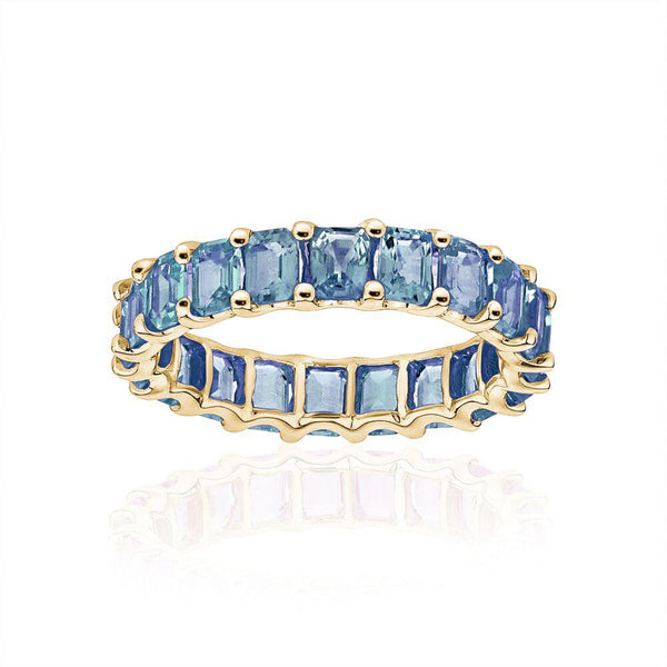 Petite Emerald Cut Blue Topaz Ring