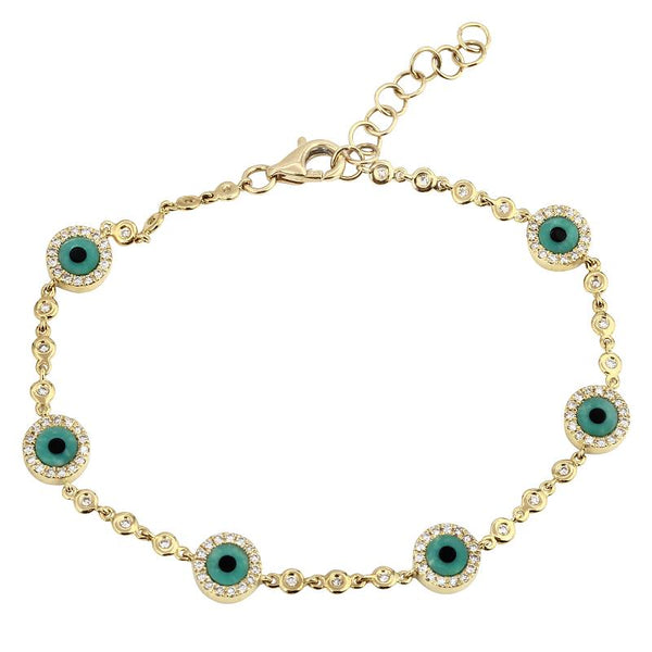Diamond Turquoise Evil Eye Bracelet