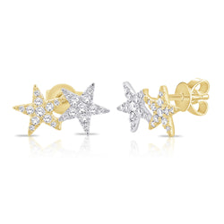 Two Tone Double Star Studs
