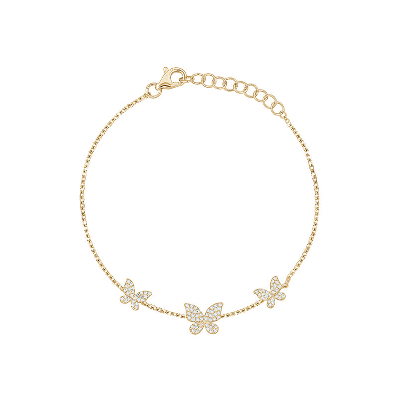 Triple Diamond Butterfly Bracelet