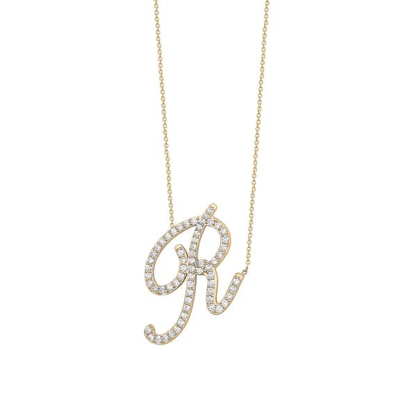 Diamond Jumbo Cursive Letter Necklace