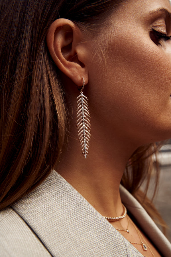 Diamond Leaf Statement Earrings