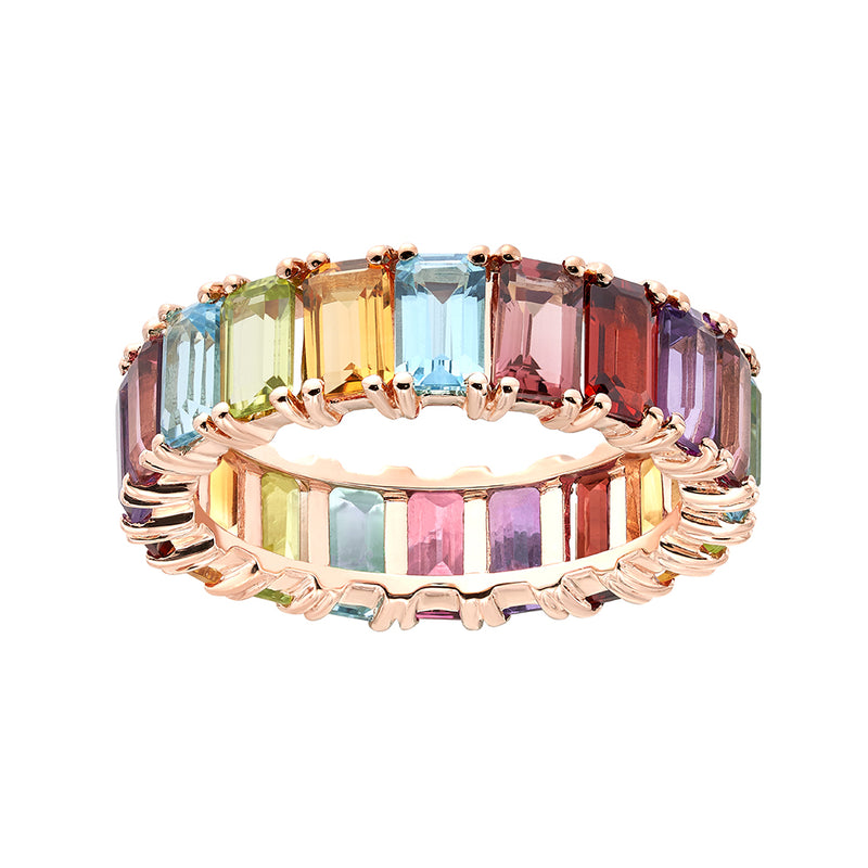 Rainbow Emerald Cut Eternity Ring