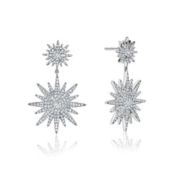 Diamond Double Stardust Drop Earrings