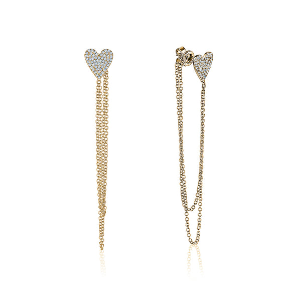 Dangling Heart Earrings With Chain