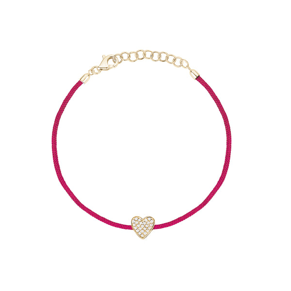 Pink String with Diamond Heart Bracelet
