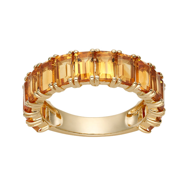 Citrine Emerald Cut 3/4 Eternity  Ring